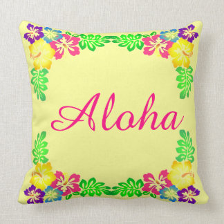 Yellow and Pink  | Aloha Colorful Hibiscus Flowers Cushion