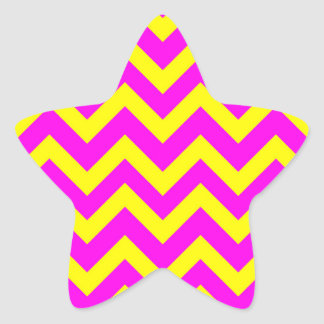 Yellow And Pink Chevrons Star Sticker