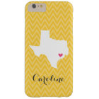 Yellow and Pink Cute Texas Love Chevron Monogram Barely There iPhone 6 Plus Case