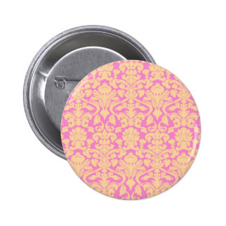 Yellow and Pink Floral Lace Damask Button