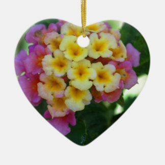 Yellow and Pink Flowers Ceramic Heart Decoration