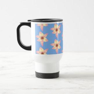 Yellow and Pink Flowers on Light Blue. Travel Mug
