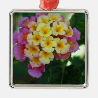 Yellow and Pink Flowers Silver-Colored Square Decoration