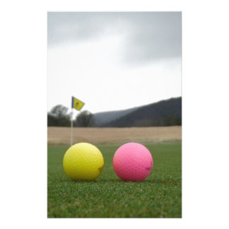 yellow and pink golf balls, customised stationery