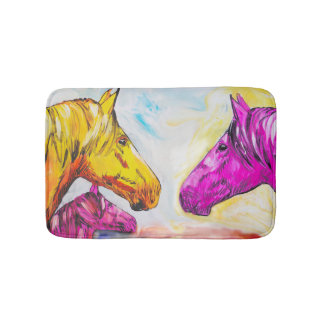 Yellow And Pink Horse Bath Mat