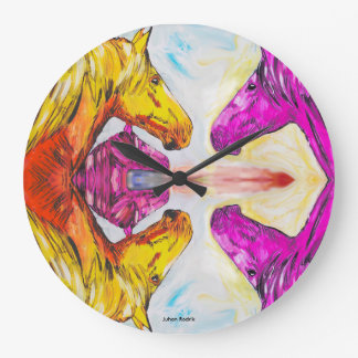 Yellow And Pink Horse Large Clock