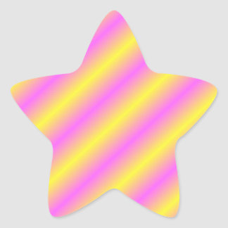 Yellow and Pink Neon Sideway Lines Star Sticker