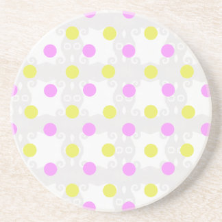 Yellow and Pink Polka Dot Coaster