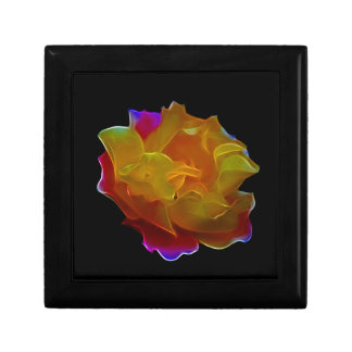 Yellow and pink rose and meaning small square gift box
