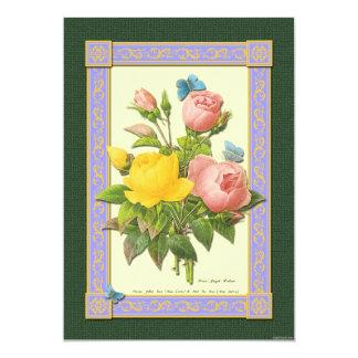 Yellow and Pink Roses Botanical Art Invitations