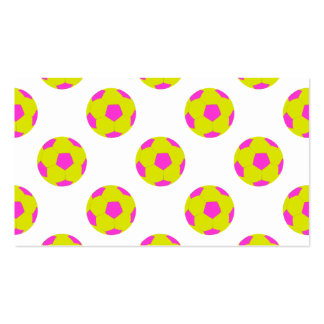 Yellow and Pink Soccer Ball Pattern Business Card Templates