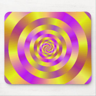 Yellow and Pink Spiral Rings Mouse Pad