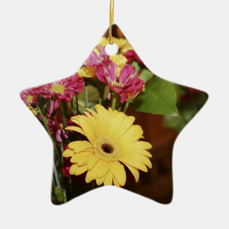 Yellow and Purple and Orange Flowers Bouquet Ceramic Star Decoration