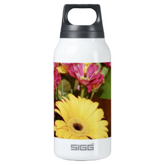 Yellow and Purple and Orange Flowers Bouquet Insulated Water Bottle