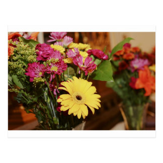 Yellow and Purple and Orange Flowers Bouquet Postcard