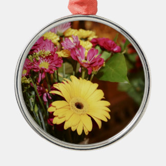 Yellow and Purple and Orange Flowers Bouquet Silver-Colored Round Decoration