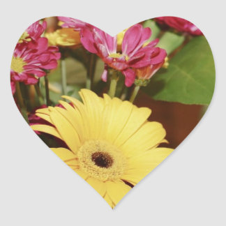 Yellow and Purple and Orange Flowers Bouquet Heart Sticker