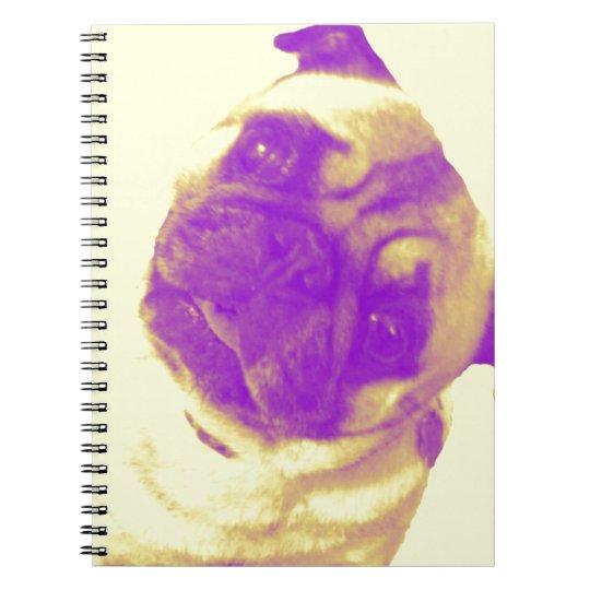 Yellow and purple artist-inspired pug print notebooks