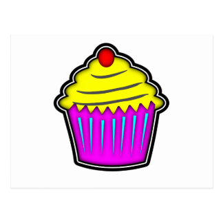 Yellow and Purple Cupcake with Cherry On Top Postcard
