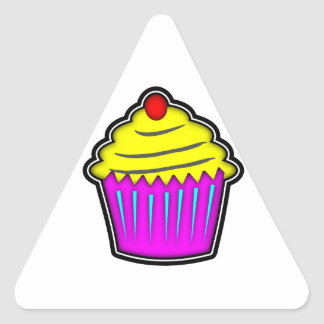 Yellow and Purple Cupcake with Cherry On Top Triangle Sticker