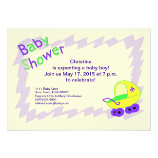 Yellow and Purple Fleur de Lis Baby Shower Personalized Invites