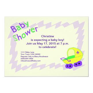 Yellow and Purple Fleur de Lis Baby Shower 5x7 Paper Invitation Card