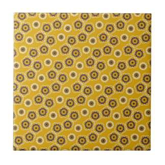 Yellow and Purple Floral Pattern Gifts Tile