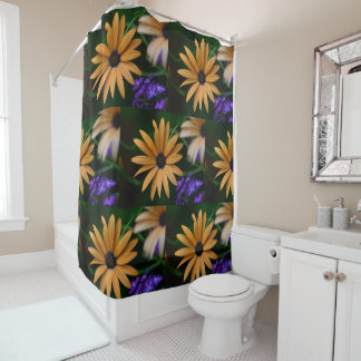 Yellow and Purple Floral Shower Curtain