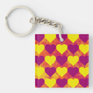Yellow and Purple Hearts on Orange Fog Background Acrylic Keychains