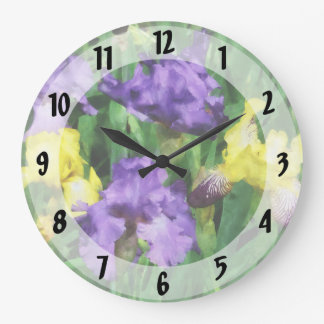 Yellow and Purple Irises Large Clock