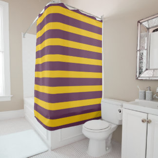 Yellow And Purple Sripes Shower Curtain
