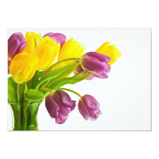 Yellow and Purple Tulips Background Customized Card