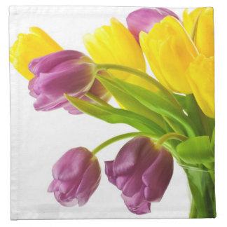 Yellow and Purple Tulips Background Customized Napkin