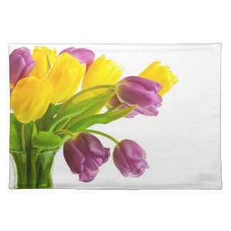 Yellow and Purple Tulips Background Customized Placemat