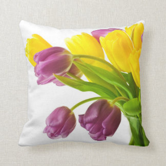 Yellow and Purple Tulips Background Customized Throw Pillow