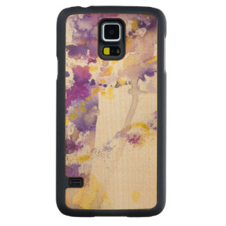 yellow and purple watercolor background carved maple galaxy s5 case