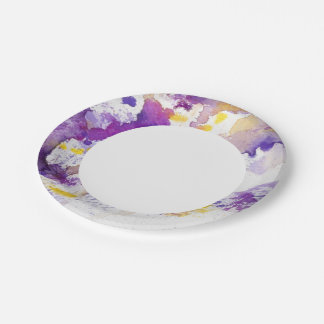 yellow and purple watercolor background paper plate