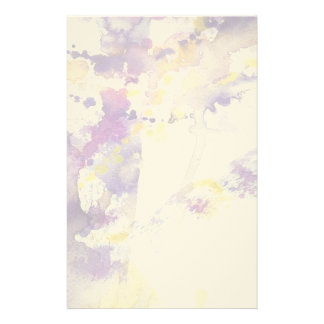 yellow and purple watercolor background personalized stationery