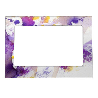 yellow and purple watercolor background photo frame magnet