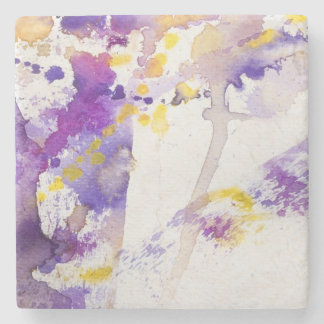 yellow and purple watercolor background stone coaster