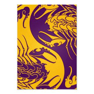 Yellow and Purple Yin Yang Scorpions 9 Cm X 13 Cm Invitation Card