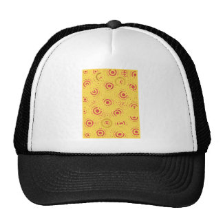 Yellow and Red Abstract Circle Pattern Mesh Hats