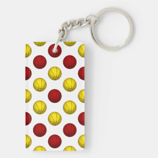 Yellow and Red Basketball Pattern Double-Sided Rectangular Acrylic Key Ring