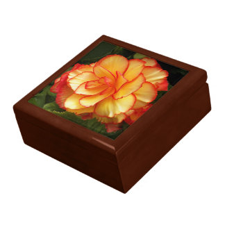 Yellow and Red Begonia Floral Large Square Gift Box