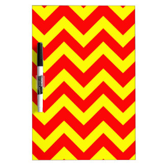 Yellow And Red Chevrons Dry Erase Board