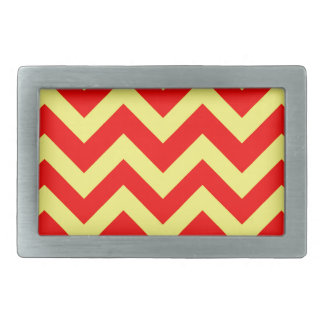 Yellow And Red Chevrons Rectangular Belt Buckles