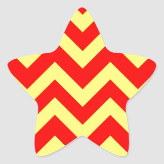 Yellow And Red Chevrons Star Sticker
