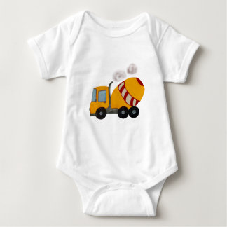 Yellow and red concrete mixer baby bodysuit