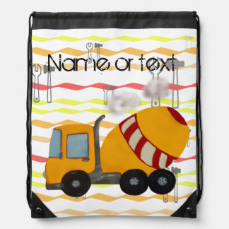 Yellow and red concrete mixer drawstring bag