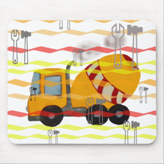 Yellow and red concrete mixer mouse pad